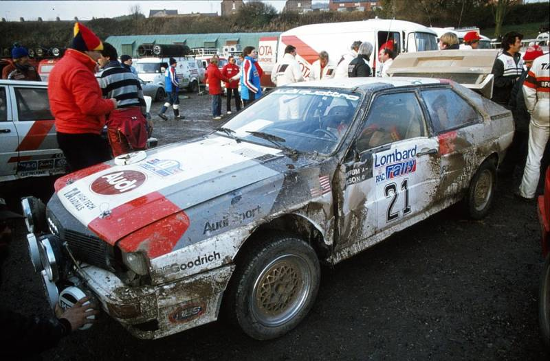 Dusty Audi Quattro after a rally
